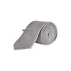 Burton - 100% silk montague burton grey textured tie