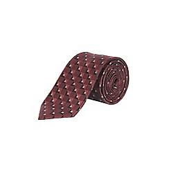 Burton - Burgundy geometric tie and pocket square set
