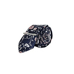 Burton - Navy and pink floral print tie