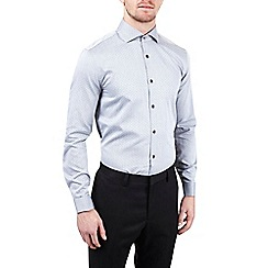 Burton - Montague grey slim fit herringbone cotton shirt