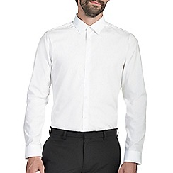 Burton - Slim white 100% cotton textured shirt