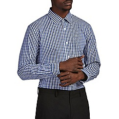 Burton - Tailored navy gingham shirt
