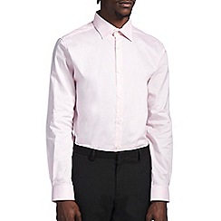 Burton - Tailored pink cotton dobby shirt