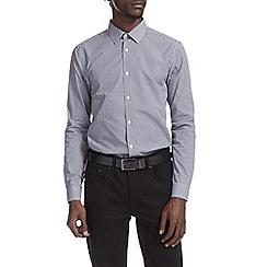 Burton - Navy smart gingham shirt