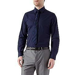 Burton - Navy slim shirt & tie set