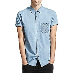 Burton - Blue denim printed pocket shirt