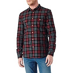 Burton - Long sleeve textured red check shirt