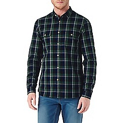 Burton - Long sleeve textured green check shirt
