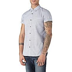 Burton - Short sleeve white mini grid check shirt