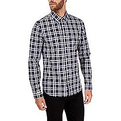 Burton - Long sleeve navy smart check shirt