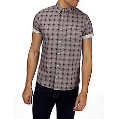 Burton - Burgundy short sleeve check print shirt
