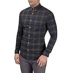 Burton - Long sleeve stretch khaki check shirt in muscle fit
