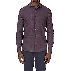 Burton - Russet and navy long sleeve gingham check shirt