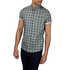Burton - Green short sleeve check print shirt