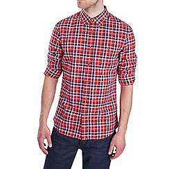 Burton - Rolled sleeve red check shirt