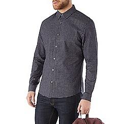Burton - Navy and grey gingham check shirt
