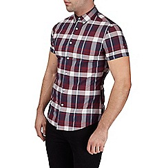 Burton - Short sleeve stretch red check shirt in muscle fit