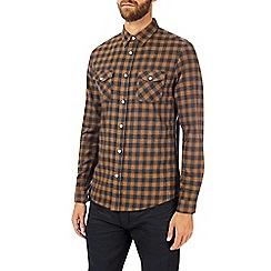Burton - Long sleeve navy tan check shirt