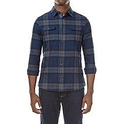 Burton - Navy blue long sleeve checked shirt
