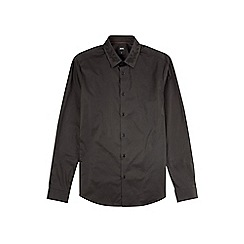 Burton - Black long sleeve stretch shirt with embroidered collar