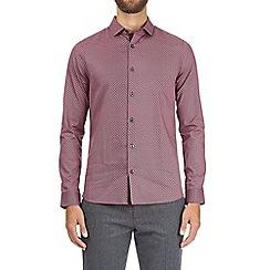 Burton - Navy long sleeve burgundy dotted shirt