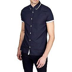 Burton - Navy short sleeve tipped collar shirt