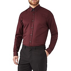 Burton - Burgundy textured shirt with contrast detailing