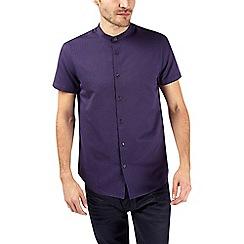 Burton - Short sleeve purple textured grandad shirt