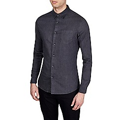 Burton - Charcoal long sleeve muscle fit denim stretch shirt