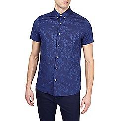 Burton - Navy short sleeve jacquard shirt