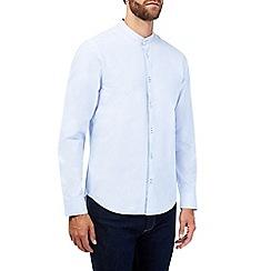 Burton - Long sleeve blue grandad collar shirt
