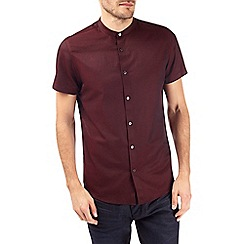 Burton - Short sleeve burgundy textured grandad shirt