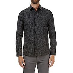 Burton - Black long sleeve striped jacquard shirt