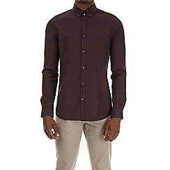 Burton - Burgundy long sleeve tipped collar shirt