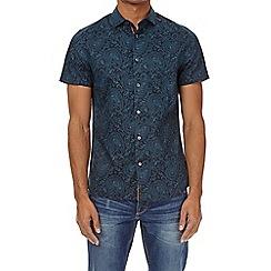Burton - Teal short sleeve peacock print shirt