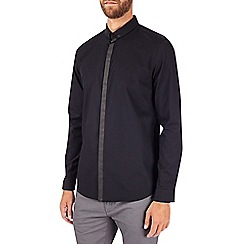 Burton - Black long sleeve snap collar shirt