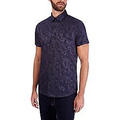 Burton - Navy camouflage short sleeve jacquard shirt