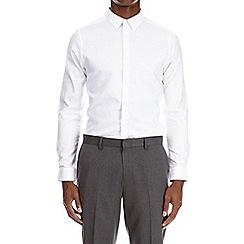 Burton - White long sleeve paisley print jacquard shirt