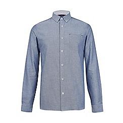 Burton - Navy long sleeve dobby shirt