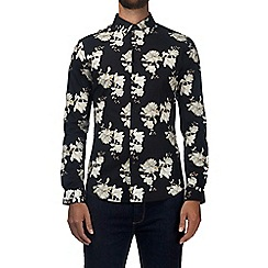 Burton - Black floral long sleeve muscle fit shirt with stretch