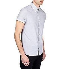 Burton - Grey short sleeve tipped collar shirt