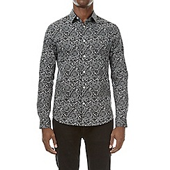 Burton - Black and white peacock print long sleeve shirt