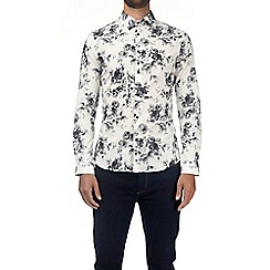 Burton - White muscle fit floral print shirt with stretch