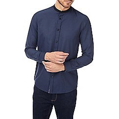 Burton - Navy long sleeve grandad collar shirt