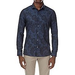 Burton - Navy blue long sleeve floral print shirt