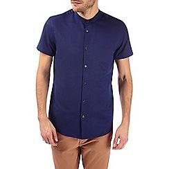 Burton - Short sleeve navy textured grandad collar shirt