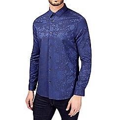 Burton - Navy long sleeve jacquard shirt