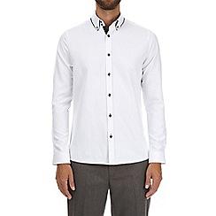 Burton - White long sleeve tipped collar shirt