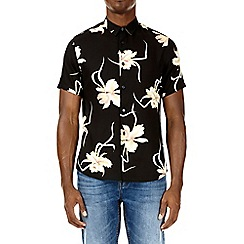 Burton - Black short sleeve orchid print shirt