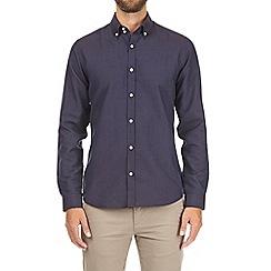 Burton - Navy long sleeve tipped collar shirt